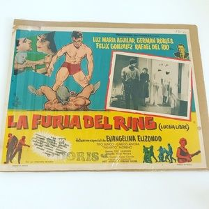 Vintage 1950's Mexican cinema lobby poster art